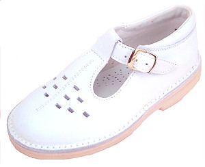 De Osu A-1154 P - White Leather T-Straps