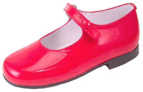 DE OSU P-2550 - Girls' Classic European Red Patent Leather Button ...